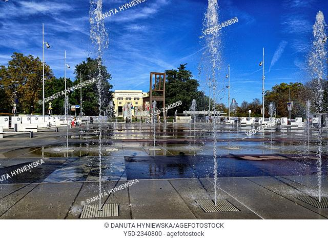 fountains in front of Palace of Nations - Headquarters of United Nations, Geneva, Switzerland