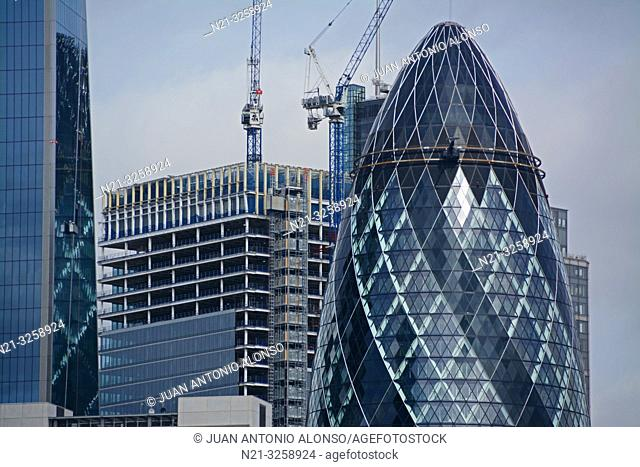 Partial view of the Leadenhall Building on the left, the 100 Bishopsgate under construction and the 30 St. Mary Axe -The Gherkin- in the Financial District