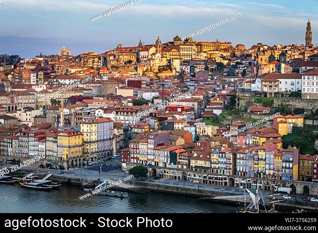 Sunrise over Porto city on Iberian Peninsula, second largest city in Portugal