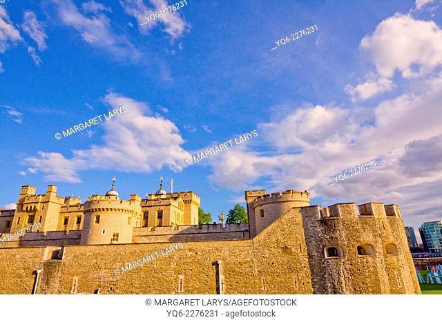 The stone facade of Castle in London, England