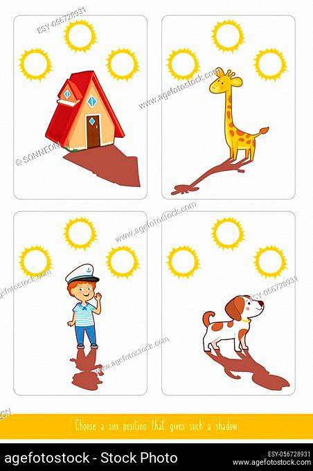 Educational game for kids. Find correct sun position for the shadow