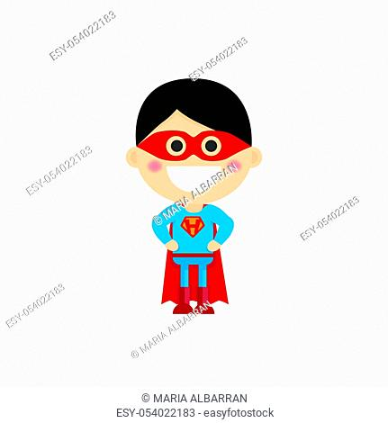 Isolated boy dressed as a superhero. Vector illustration