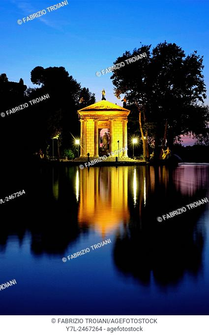 Laghetto di Villa Borghese at night, Rome, Italy