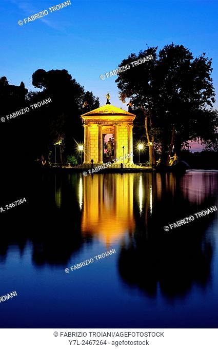 Laghetto di Villa Borghese at night, Rome, Italy