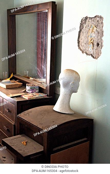 Destroyed bedroom at nariman house jewish community centre by deccan mujahedeen terrorists attack in Bombay Mumbai ; Maharashtra ; India 17-February-2009