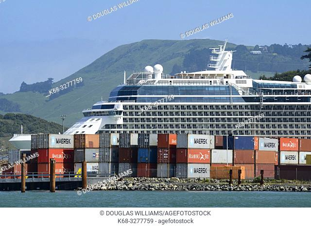 A cruise ship in Port Chalmers, New Zealand