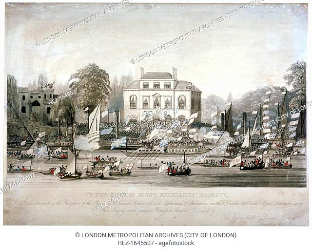 Scene on the Thames at Brandenburgh House, Hammersmith, London, 1820. The Watermen and Lightermen of the River Thames and parishioners of St Saviour