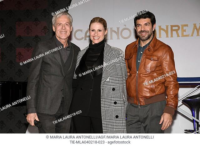 Italian singer and Sanremo Festival artistic director Claudio Baglioni, tv presenter Michelle Hunziker, Italian actor Pierfrancesco Favino during the photocall...