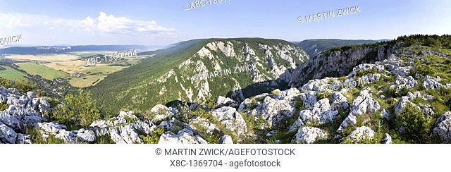 Panorama of the gorge of Zadiel in the slovak karst  The gorge was created by the collapsing of several caves  The National Park Slovak Karst is protecting the...