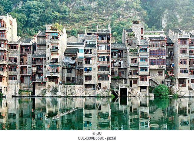 Waterfront cityscape, Zhenyuan, Guizhou, China