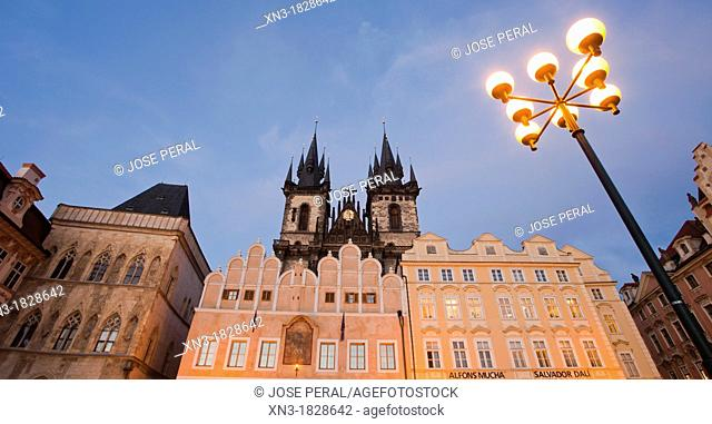 Church of Mother of God before Týn or Church of Our Lady before Tyn, Old Town Square, Staromestske namesti, Prague, Czech Republic, Europe