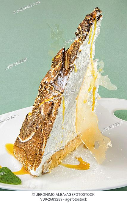 Dessert. Lemon Tart with Toasted Meringue Top