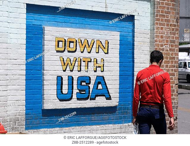 Iran, Shemiranat County, Tehran, anti american mural on the wall of the former american embassy