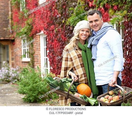 Couple with seasonal vegetables