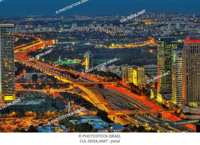 Aerial view of Tel Aviv at night with Ayalon Highway, Israel