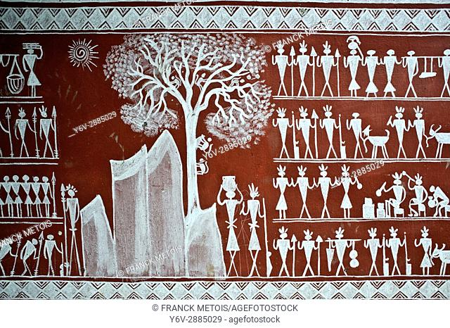 Mural painting depicting tribal people ( Rayagada, Odisha state, India). It is inspired by the Saora tribe paintings