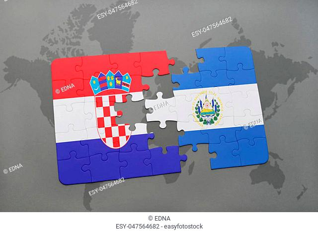 puzzle with the national flag of croatia and el salvador on a world map background. 3D illustration