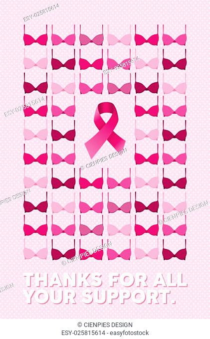 Breast cancer awareness campaign poster with thanks for all your support text over pink dot background. Includes bra and ribbon element on center