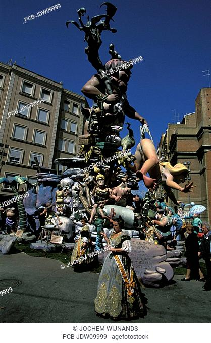 Valencia, ninots at the Las Fallas festival on Saint Josephs Day