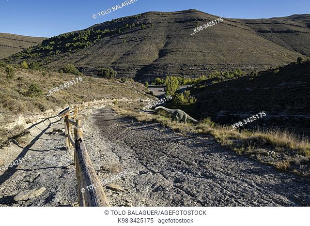 huellas de dinosaurio, yacimiento de Valdecevillo, Enciso, La Rioja , Spain, Europe