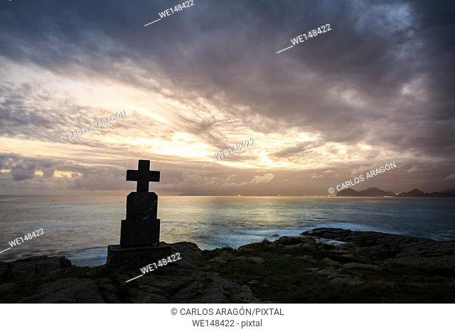 Stone cross monuments by the sea in the sunrise, Castro Urdiales, Cantabria