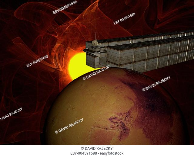 Garbage ship in Sun system over mars