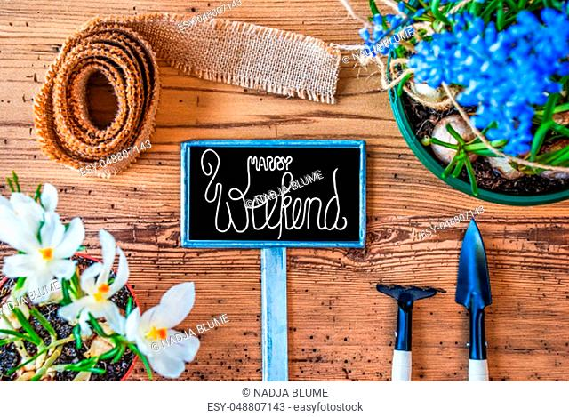 Sign With English Calligraphy Happy Weekend. Spring Flowers Like Grape Hyacinth And Crocus. Gardening Tools Like Rake And Shovel