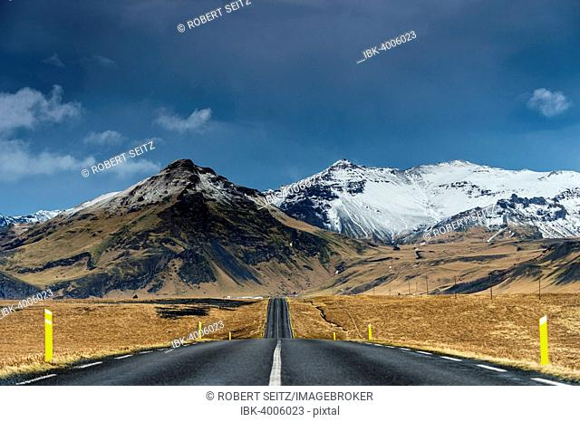 Road with a mountain landscape, near Vik, Iceland