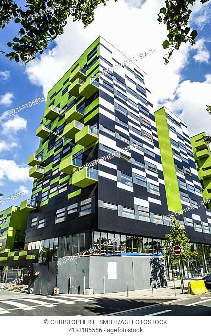 Muliti-purpose modern buildings along the Avenue du President Hoover in Lille France