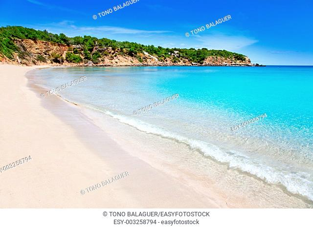 Cala Llenya in Ibiza with turquoise water in Balearic islands