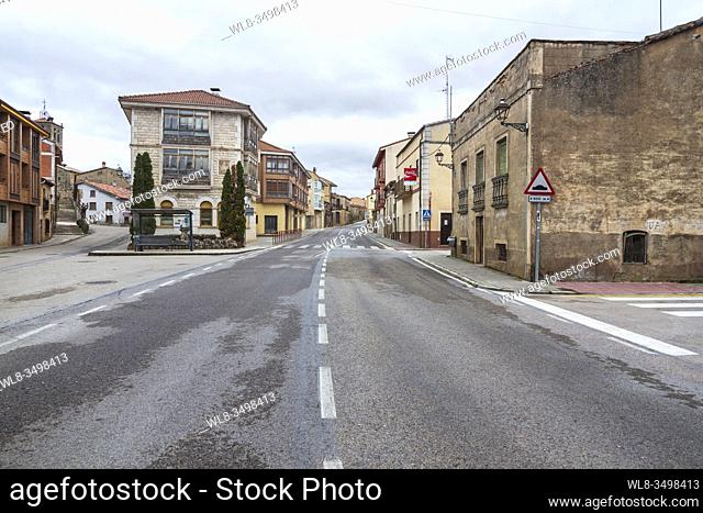 Empty streets due to the Coronavirus in Salas de los Infantes, Burgos (Spain)
