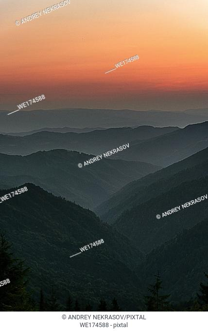 sunrise in the mountains. Carpathian Mountains, Ukraine, Eastern Europe