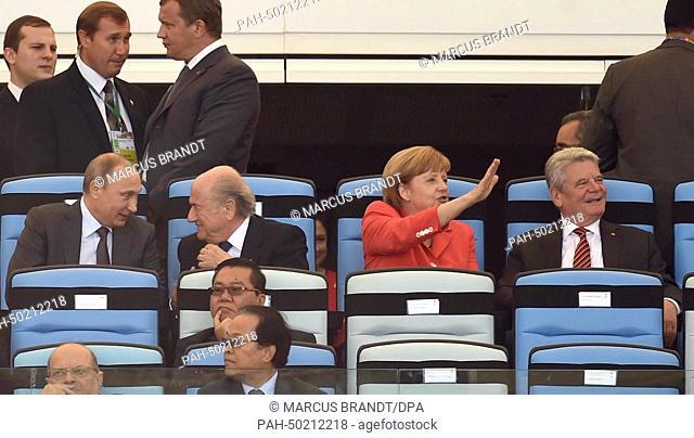 Russia's President Vladimir Putin (L-R), FIFA President Sepp Blatter, Germany's Chancellor Angela Merkel and German President Joachim Gauck watch the opening...