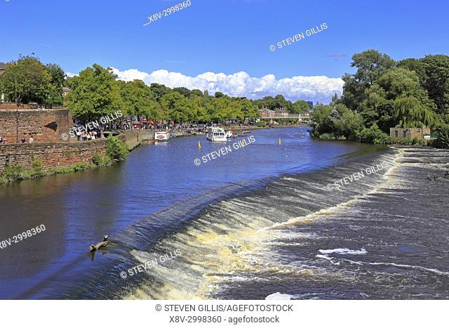 The weir on the River Dee, Chester, Cheshire, England, UK