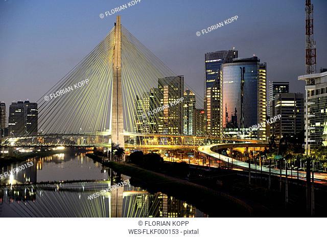 Brazil, Sao Paulo, district Morumbi, skyscrapers, Financial center, bridge Octavio Frias de Oliveira