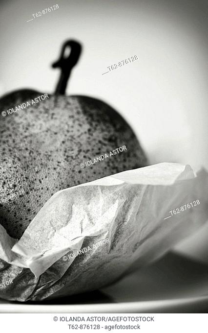 Pear wrapped  Still Life  Black and white