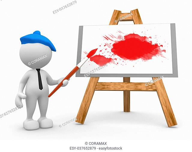 3d people - man, person painting on a canvas on an easel