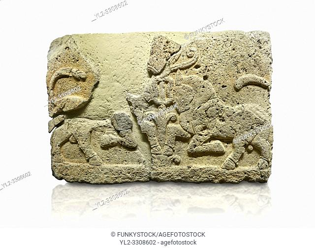 Picture & image of Hittite relief sculpted orthostat stone panel of Herald's Wall Limestone, Karkamıs, (Kargamıs), Carchemish (Karkemish), 900-700 B