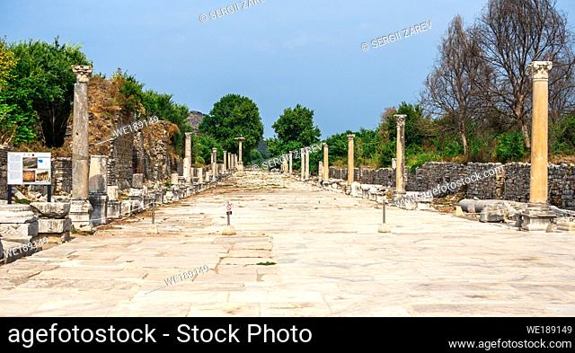 Ephesus, Turkey. Harbor or Arcadian Street in antique Ephesus on a sunny summer day
