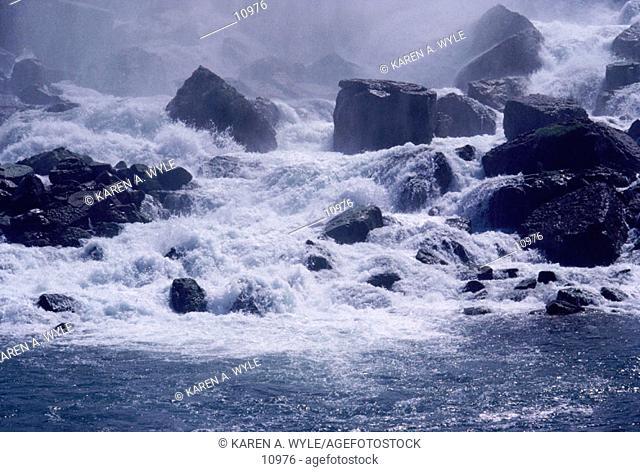 Base of a waterfall at Niagara Falls