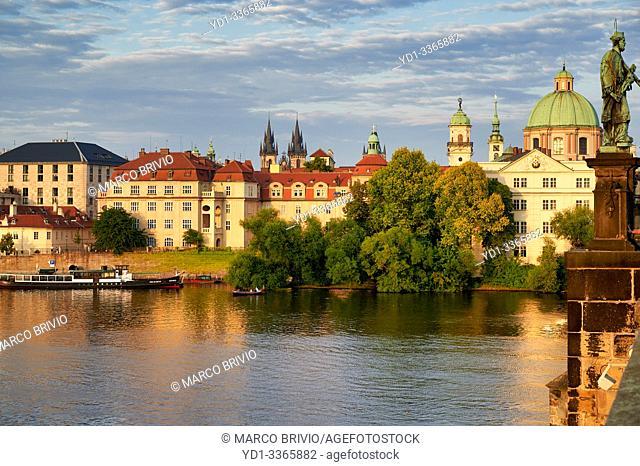 Prague Czech Republic. Old historical buildings by the river Vltava (Moldava)