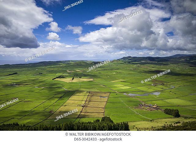 Portugal, Azores, Terceira Island, Serra do Cume, elevated view of fields, springtime