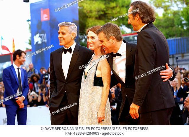 George Clooney, Julianne Moore, Matt Damon and Alexandre Desplat attending the 'Suburbicon' premiere at the 74th Venice International Film Festival at the...