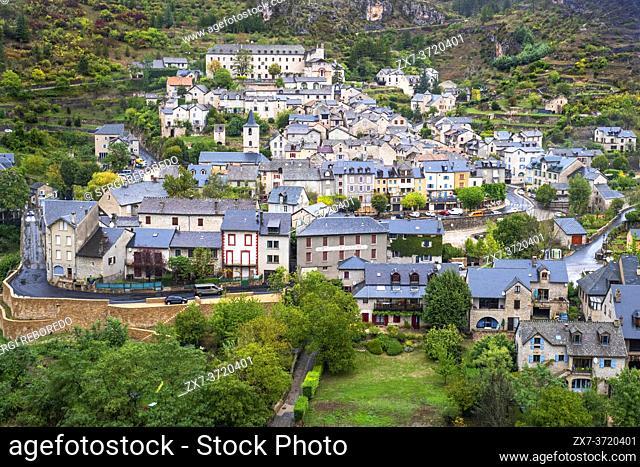 Sainte-Enimie in Gorges du Tarn. UNESCO World Heritage Site. Grands Causses Regional Natural Park. Lozere. Occitanie. France