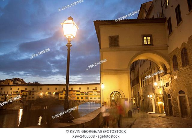 Ponte Vecchio Bridge and Lamppost, Florence, Italy at Night