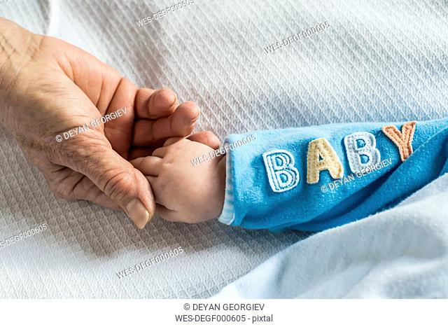 Senior woman's hand holding baby's hand
