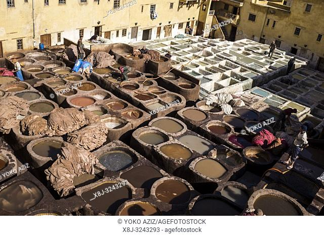 Morocco, Fes, Medina, tannery