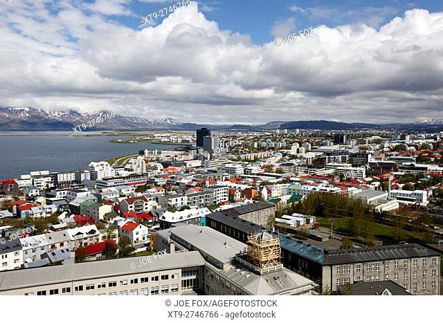 aerial view over the southeastern area of city of reykjavik Iceland