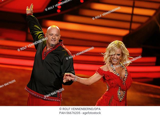Reality TV participant Detlef Stevens dances the cha-cha-cha to the song 'Rasputin' by Boney M. with Swedish professional dancer Isabel Edvardsson during the...