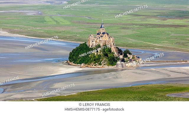 France, Manche, Bay of Mont Saint Michel, listed as World Heritage by UNESCO, Mont Saint Michel (aerial view)